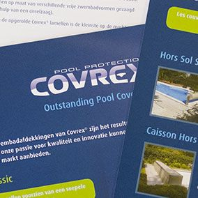 Covrex® Pool Protection is a belgian pool cover maker  whose products are sold worldwide. In 2013, we improved their branding through many printed documents. Here's a small selection.