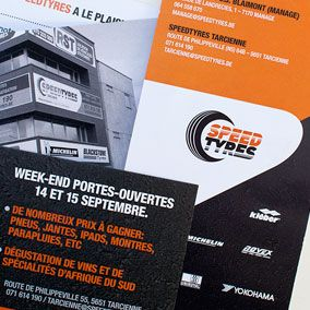 Born in 2010, SPEEDTYRES is a young chain of sales and tyre mounting stations. There're currently three stations in Wallonia, and many others should open in the coming years.From 2010 to now, tix02 has developed their branding, especially through various layouts for the print.